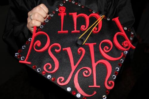 "Decorated graduation cap reading ""I'm psyched"""