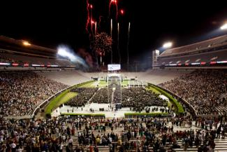 Photo of Stanford stadium with fireworks after graduation