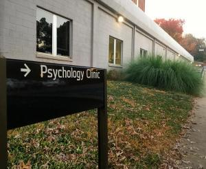 Psychology clinic sign outside of the psychology clinic building